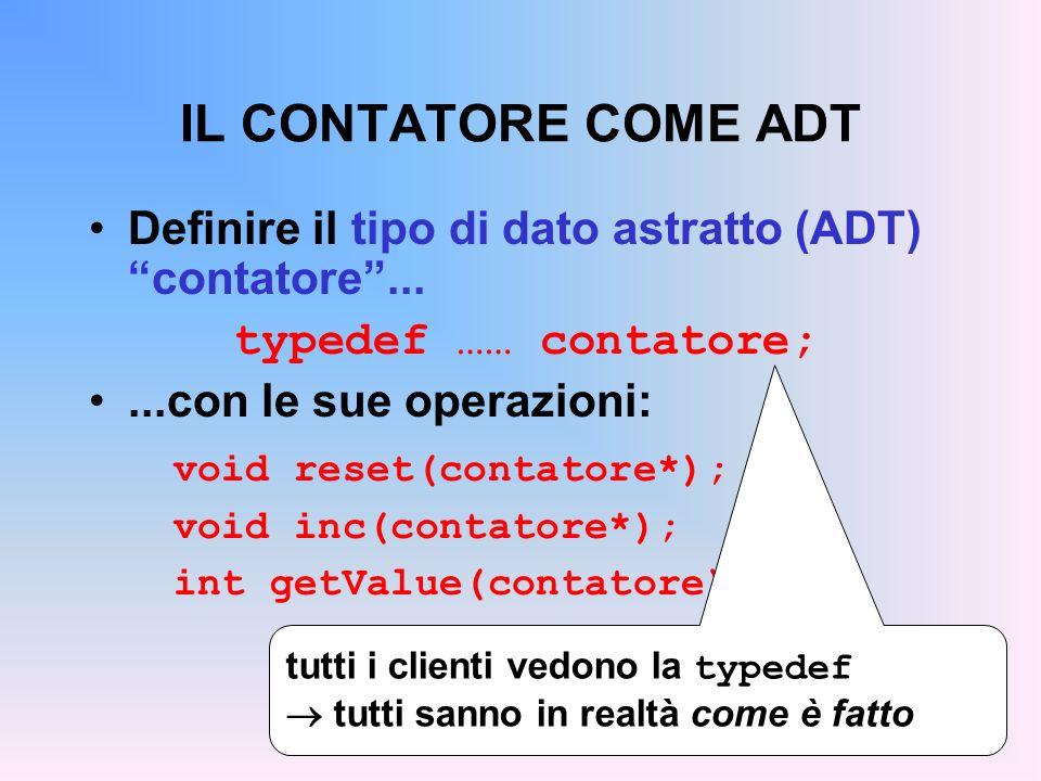 IL CONTATORE COME ADT Definire il tipo di dato astratto (ADT) contatore...
