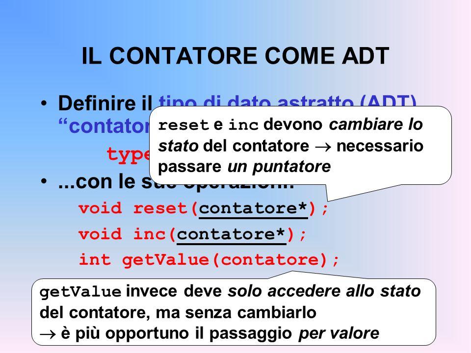 IL CONTATORE COME ADT Definire il tipo di dato astratto (ADT) contatore... typedef …… contatore;...con le sue operazioni: void reset(contatore*); void