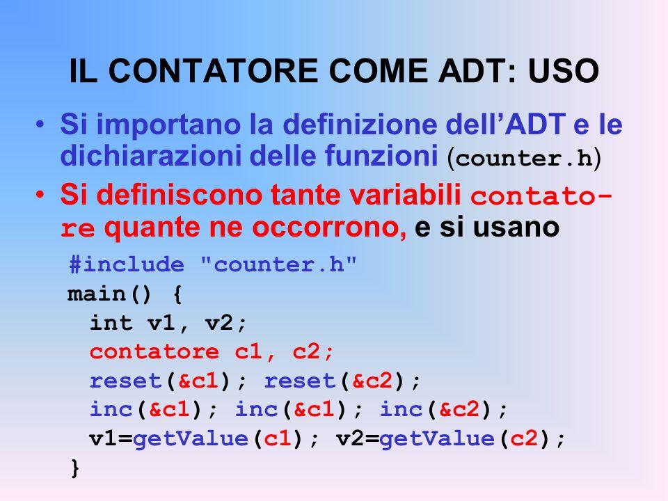 IL CONTATORE COME ADT: USO Si importano la definizione dellADT e le dichiarazioni delle funzioni ( counter.h ) Si definiscono tante variabili contato- re quante ne occorrono, e si usano #include counter.h main() { int v1, v2; contatore c1, c2; reset(&c1); reset(&c2); inc(&c1); inc(&c1); inc(&c2); v1=getValue(c1); v2=getValue(c2); }