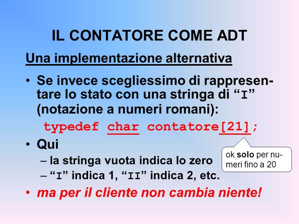 IL CONTATORE COME ADT Una implementazione alternativa Se invece scegliessimo di rappresen- tare lo stato con una stringa di I (notazione a numeri roma