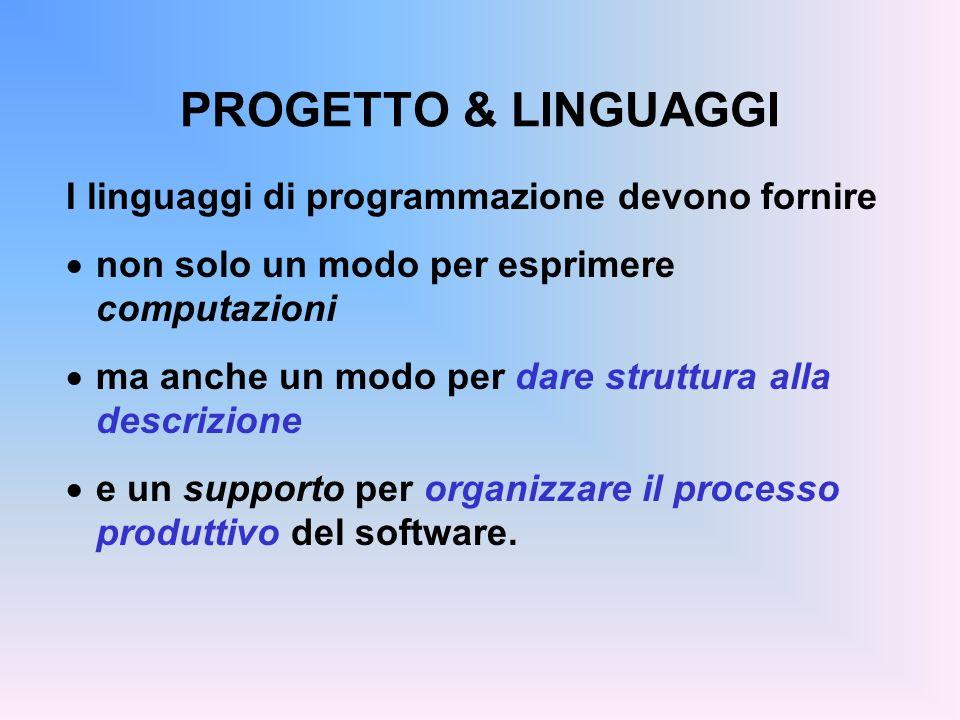 PROGETTO & LINGUAGGI I linguaggi di programmazione devono fornire non solo un modo per esprimere computazioni ma anche un modo per dare struttura alla descrizione e un supporto per organizzare il processo produttivo del software.