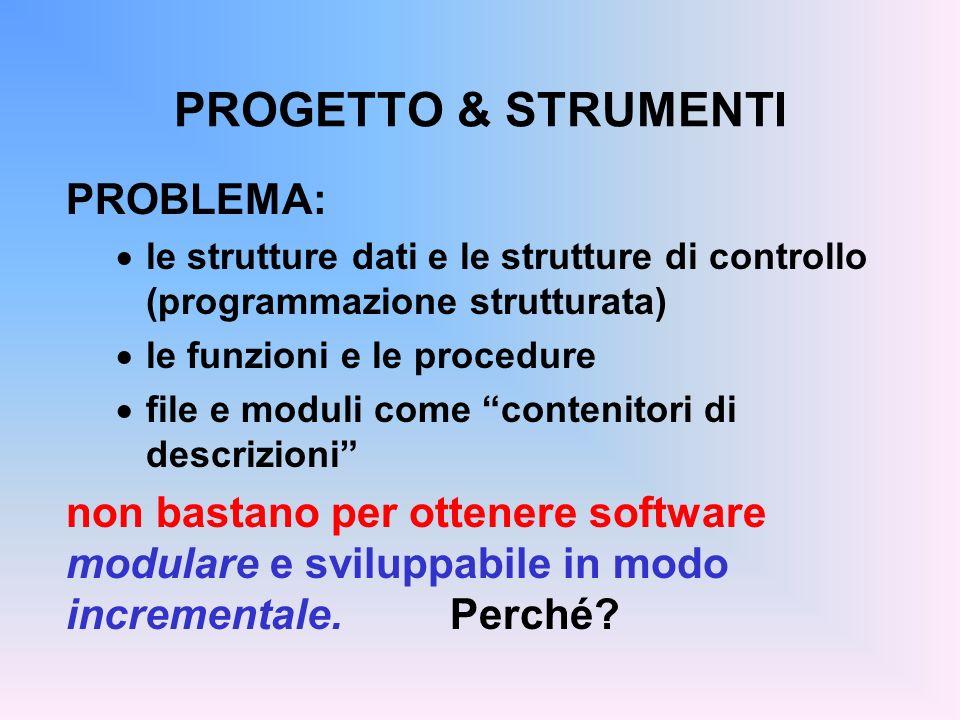 PROGETTO & STRUMENTI PROBLEMA: le strutture dati e le strutture di controllo (programmazione strutturata) le funzioni e le procedure file e moduli come contenitori di descrizioni non bastano per ottenere software modulare e sviluppabile in modo incrementale.