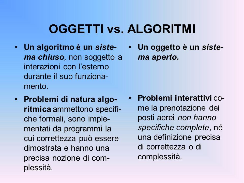 OGGETTI vs. ALGORITMI Un algoritmo è un siste- ma chiuso, non soggetto a interazioni con lesterno durante il suo funziona- mento. Problemi di natura a