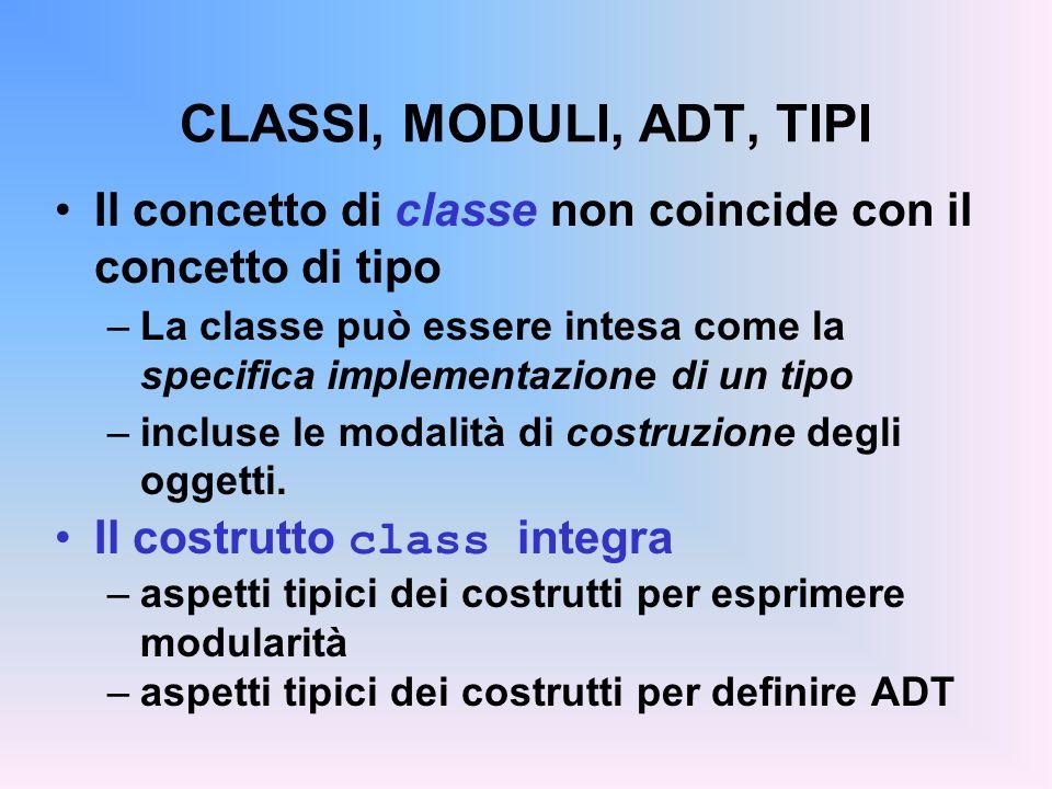 CLASSI, MODULI, ADT, TIPI Il concetto di classe non coincide con il concetto di tipo –La classe può essere intesa come la specifica implementazione di un tipo –incluse le modalità di costruzione degli oggetti.