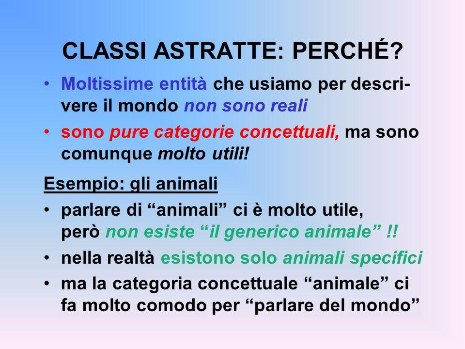 ESEMPIO: GLI ANIMALI Tutti sappiamo cosa sia un animale: –ogni animale ha un qualche verso –ogni animale si muove in qualche modo –ogni animale vive in un qualche ambiente...ma proprio per questo, non esiste il generico animale.