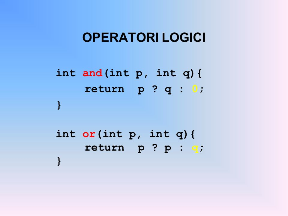 OPERATORI LOGICI int and(int p, int q){ return p .