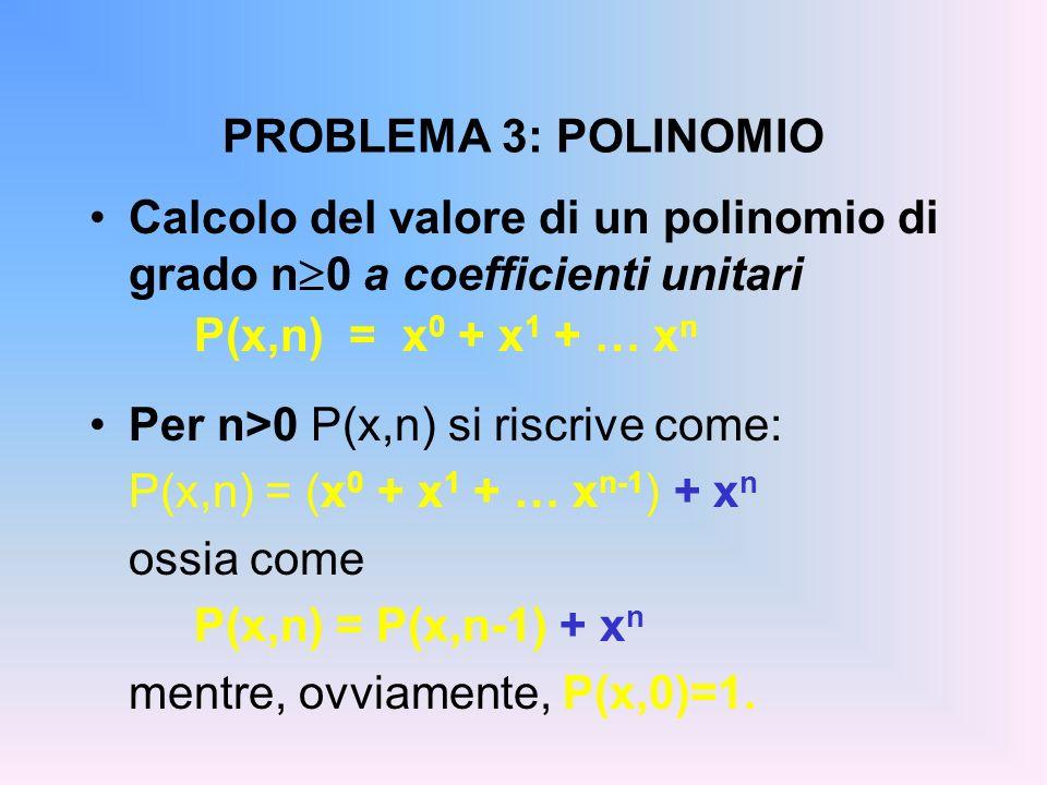 PROBLEMA 3: POLINOMIO Calcolo del valore di un polinomio di grado n 0 a coefficienti unitari P(x,n) = x 0 + x 1 + … x n Per n>0 P(x,n) si riscrive come: P(x,n) = (x 0 + x 1 + … x n-1 ) + x n ossia come P(x,n) = P(x,n-1) + x n mentre, ovviamente, P(x,0)=1.