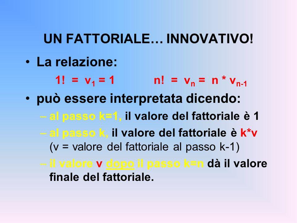 UN FATTORIALE… INNOVATIVO. La relazione: 1. = v 1 = 1 n.