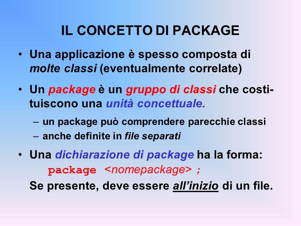 IL CONCETTO DI PACKAGE Una applicazione è spesso composta di molte classi (eventualmente correlate) Un package è un gruppo di classi che costi- tuiscono una unità concettuale.
