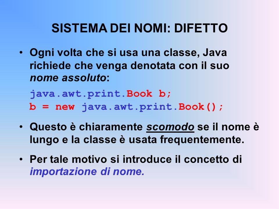 SISTEMA DEI NOMI: DIFETTO Ogni volta che si usa una classe, Java richiede che venga denotata con il suo nome assoluto: java.awt.print.Book b; b = new java.awt.print.Book(); Questo è chiaramente scomodo se il nome è lungo e la classe è usata frequentemente.