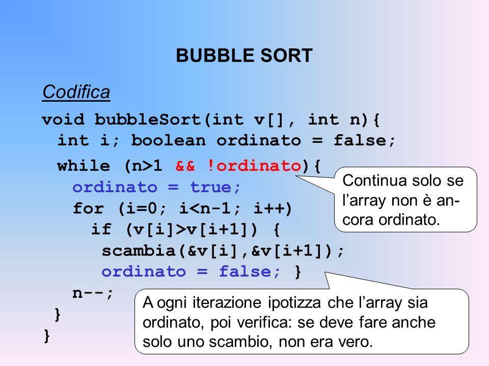 BUBBLE SORT Codifica void bubbleSort(int v[], int n){ int i; boolean ordinato = false; while (n>1 && !ordinato){ ordinato = true; for (i=0; i<n-1; i++) if (v[i]>v[i+1]) { scambia(&v[i],&v[i+1]); ordinato = false; } n--; } Continua solo se larray non è an- cora ordinato.