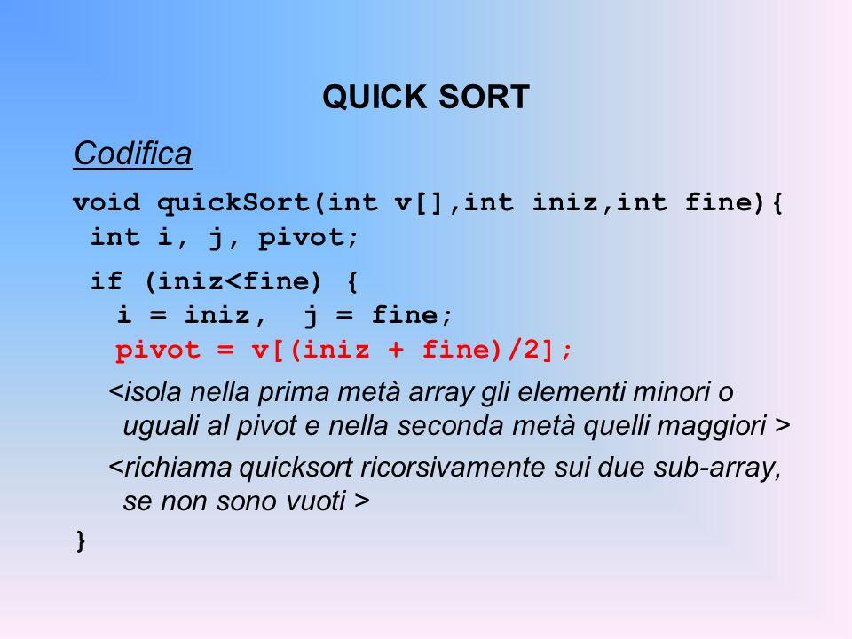 QUICK SORT Codifica void quickSort(int v[],int iniz,int fine){ int i, j, pivot; if (iniz<fine) { i = iniz, j = fine; pivot = v[(iniz + fine)/2]; }