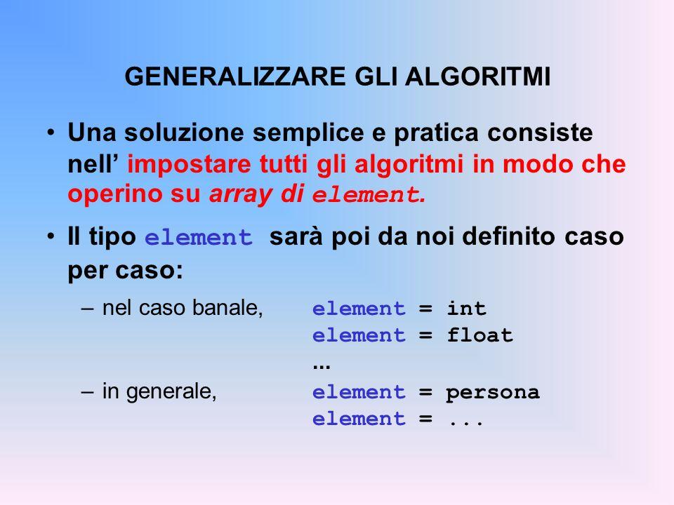 GENERALIZZARE GLI ALGORITMI Una soluzione semplice e pratica consiste nell impostare tutti gli algoritmi in modo che operino su array di element.