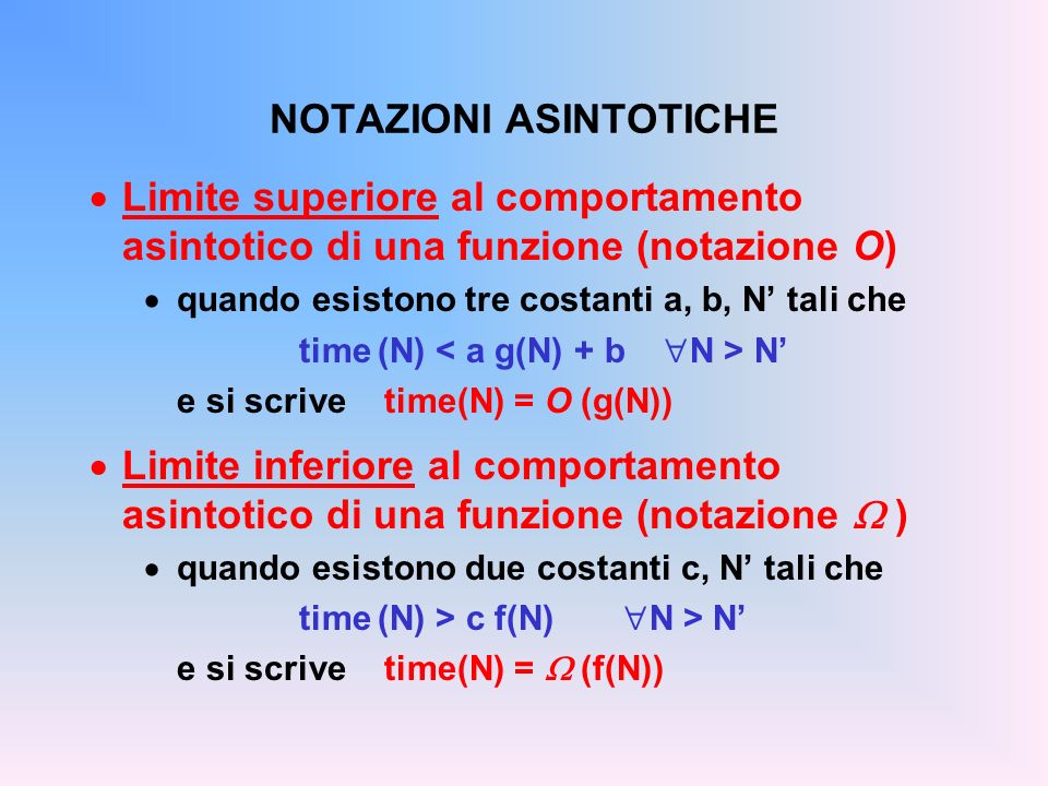 NOTAZIONI ASINTOTICHE Limite superiore al comportamento asintotico di una funzione (notazione O) quando esistono tre costanti a, b, N tali che time (N) N e si scrive time(N) = O (g(N)) Limite inferiore al comportamento asintotico di una funzione (notazione ) quando esistono due costanti c, N tali che time (N) > c f(N) N > N e si scrive time(N) = (f(N))