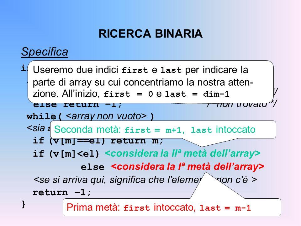 RICERCA BINARIA Specifica int ricBin(int v[], int dim, int el){ if ( ) if ( ) return 0; /* posizione */ else return –1; /* non trovato */ while( ) if (v[m]==el) return m; if (v[m] else return –1; } Useremo due indici first e last per indicare la parte di array su cui concentriamo la nostra atten- zione.