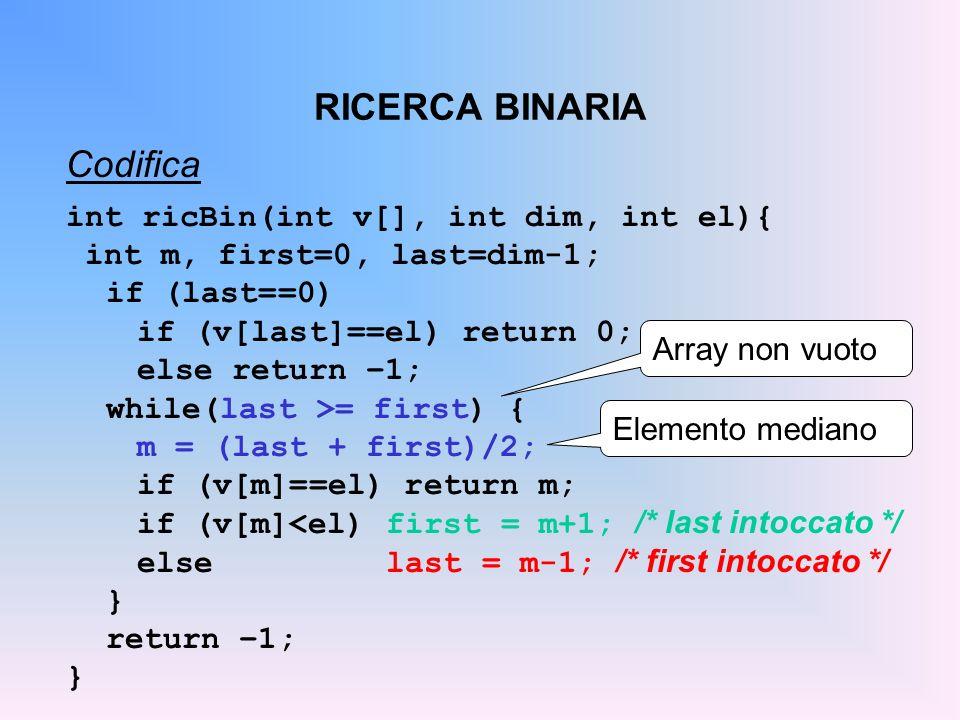 RICERCA BINARIA Codifica int ricBin(int v[], int dim, int el){ int m, first=0, last=dim-1; if (last==0) if (v[last]==el) return 0; else return –1; while(last >= first) { m = (last + first)/2; if (v[m]==el) return m; if (v[m]<el) first = m+1; /* last intoccato */ else last = m-1; /* first intoccato */ } return –1; } Array non vuoto Elemento mediano
