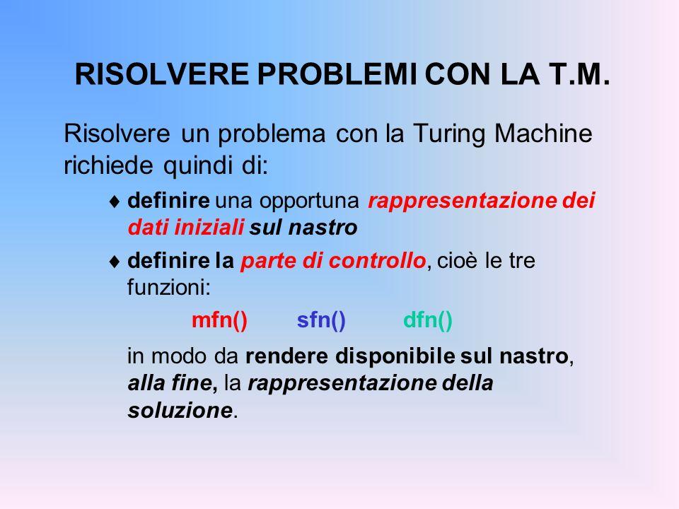 RISOLVERE PROBLEMI CON LA T.M. Risolvere un problema con la Turing Machine richiede quindi di: definire una opportuna rappresentazione dei dati inizia