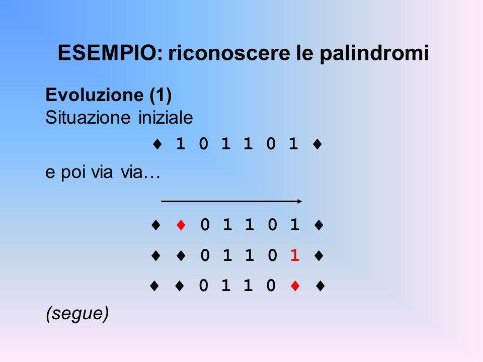 ESEMPIO: riconoscere le palindromi Evoluzione (1) Situazione iniziale 1 0 1 1 0 1 e poi via via… 0 1 1 0 1 0 1 1 0 (segue)