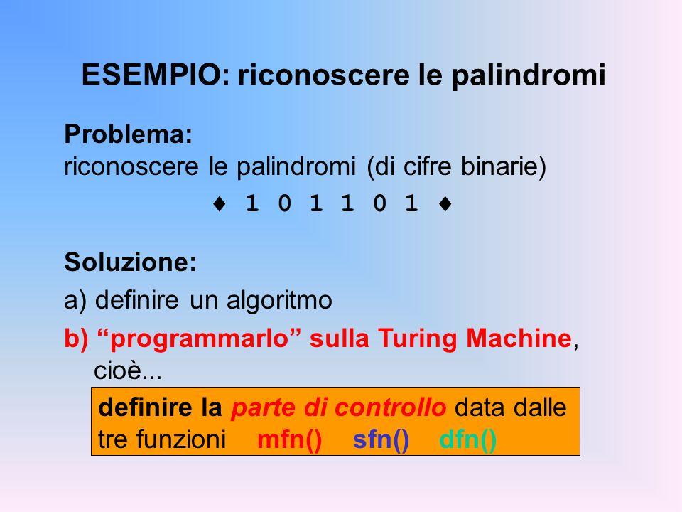 ESEMPIO: riconoscere le palindromi definire la parte di controllo data dalle tre funzioni mfn() sfn()dfn() Problema: riconoscere le palindromi (di cif