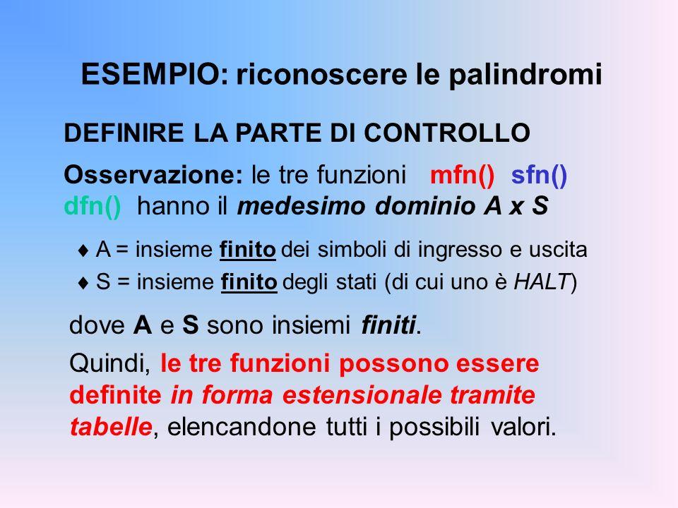 ESEMPIO: riconoscere le palindromi DEFINIRE LA PARTE DI CONTROLLO Osservazione: le tre funzioni mfn() sfn() dfn() hanno il medesimo dominio A x S A =