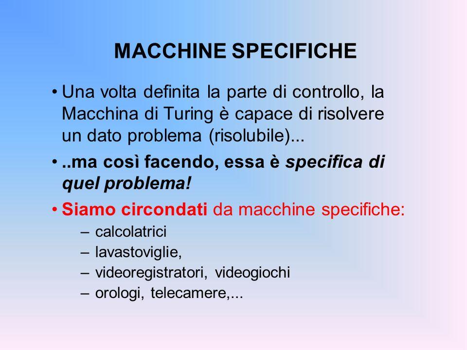 MACCHINE SPECIFICHE Una volta definita la parte di controllo, la Macchina di Turing è capace di risolvere un dato problema (risolubile).....ma così fa
