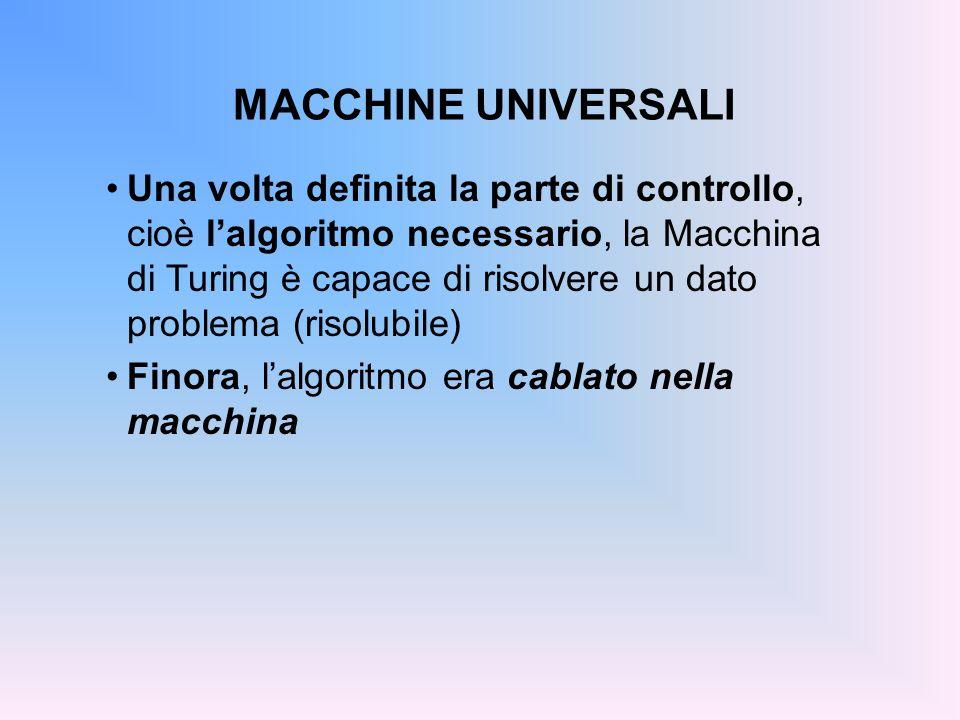MACCHINE UNIVERSALI Una volta definita la parte di controllo, cioè lalgoritmo necessario, la Macchina di Turing è capace di risolvere un dato problema