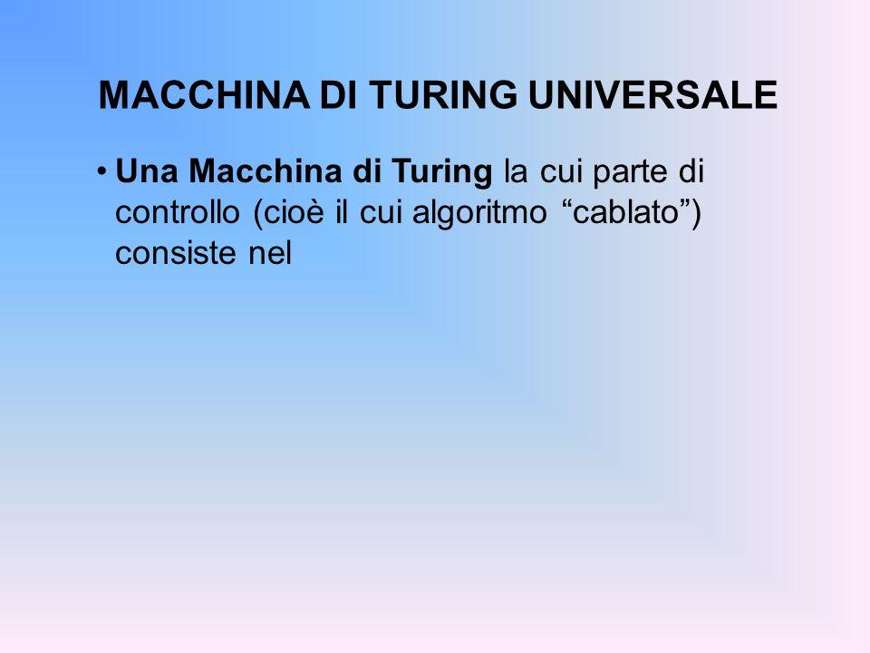 MACCHINA DI TURING UNIVERSALE Una Macchina di Turing la cui parte di controllo (cioè il cui algoritmo cablato) consiste nel