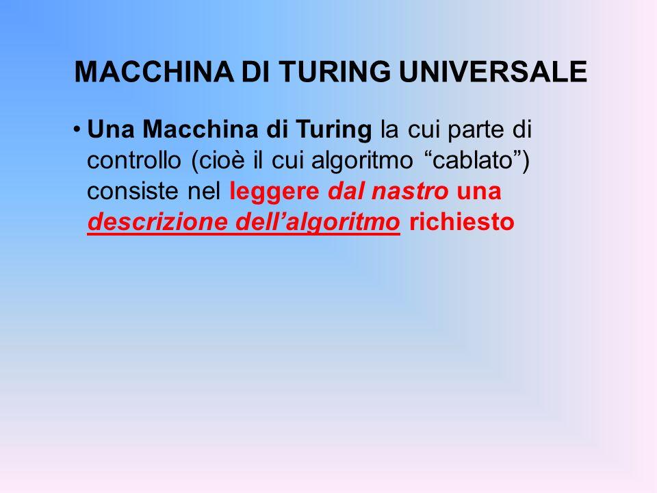 MACCHINA DI TURING UNIVERSALE Una Macchina di Turing la cui parte di controllo (cioè il cui algoritmo cablato) consiste nel leggere dal nastro una des