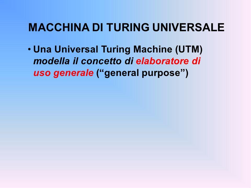 MACCHINA DI TURING UNIVERSALE Una Universal Turing Machine (UTM) modella il concetto di elaboratore di uso generale (general purpose)