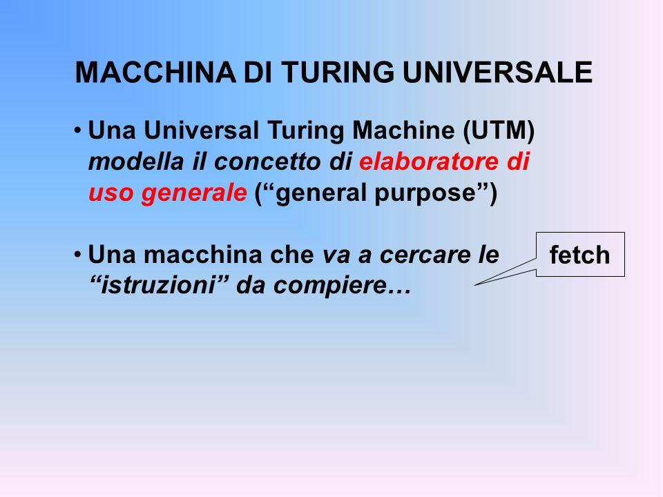 MACCHINA DI TURING UNIVERSALE Una Universal Turing Machine (UTM) modella il concetto di elaboratore di uso generale (general purpose) Una macchina che