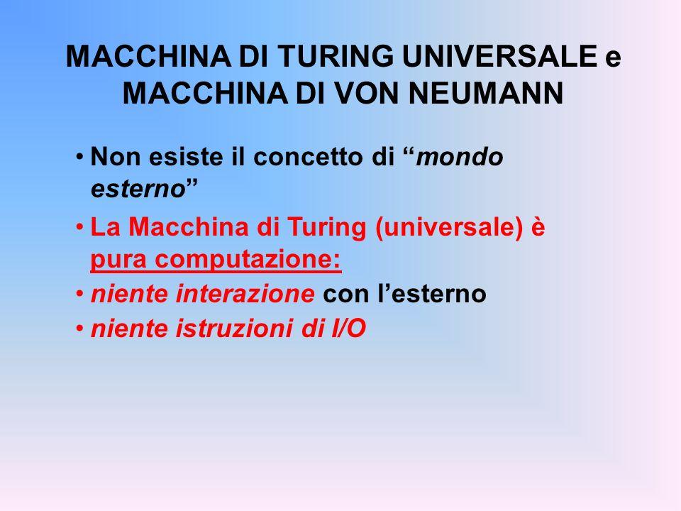 MACCHINA DI TURING UNIVERSALE e MACCHINA DI VON NEUMANN Non esiste il concetto di mondo esterno La Macchina di Turing (universale) è pura computazione