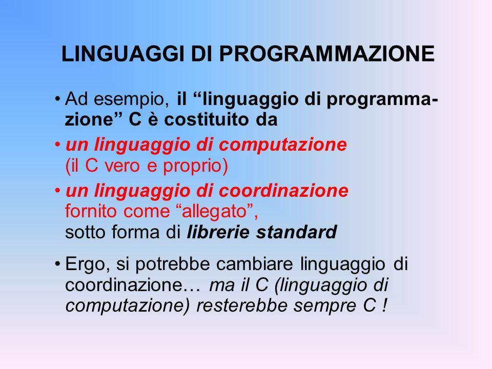 LINGUAGGI DI PROGRAMMAZIONE Ad esempio, il linguaggio di programma- zione C è costituito da un linguaggio di computazione (il C vero e proprio) un lin