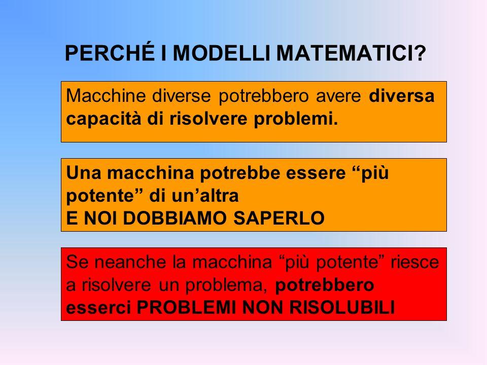 PERCHÉ I MODELLI MATEMATICI? Macchine diverse potrebbero avere diversa capacità di risolvere problemi. Una macchina potrebbe essere più potente di una