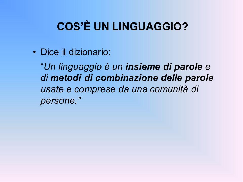 COSÈ UN LINGUAGGIO? Dice il dizionario: Un linguaggio è un insieme di parole e di metodi di combinazione delle parole usate e comprese da una comunità