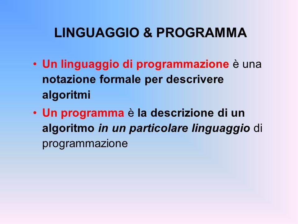 LINGUAGGIO & PROGRAMMA Un linguaggio di programmazione è una notazione formale per descrivere algoritmi Un programma è la descrizione di un algoritmo