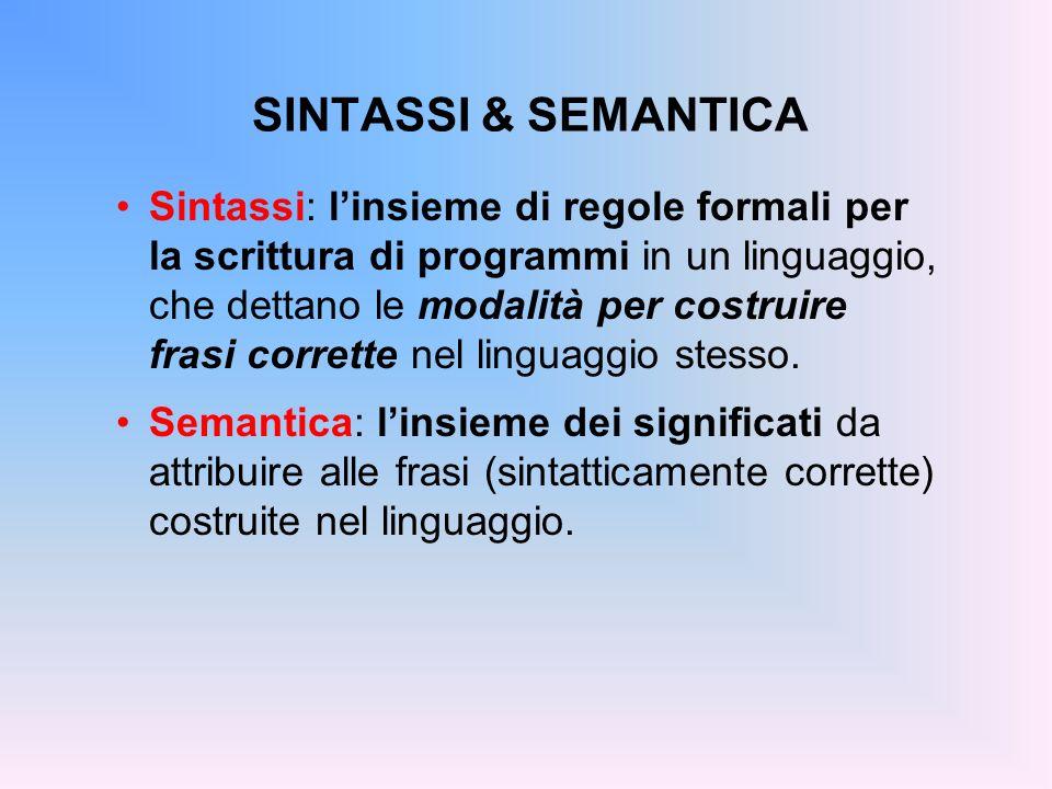 SINTASSI & SEMANTICA Sintassi: linsieme di regole formali per la scrittura di programmi in un linguaggio, che dettano le modalità per costruire frasi