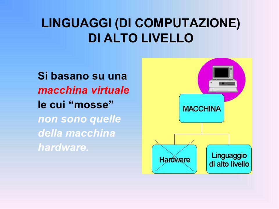 LINGUAGGI (DI COMPUTAZIONE) DI ALTO LIVELLO Si basano su una macchina virtuale le cui mosse non sono quelle della macchina hardware.