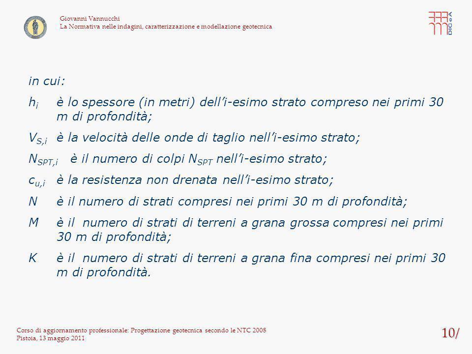 10/ Corso di aggiornamento professionale: Progettazione geotecnica secondo le NTC 2008 Pistoia, 13 maggio 2011 Giovanni Vannucchi La Normativa nelle i