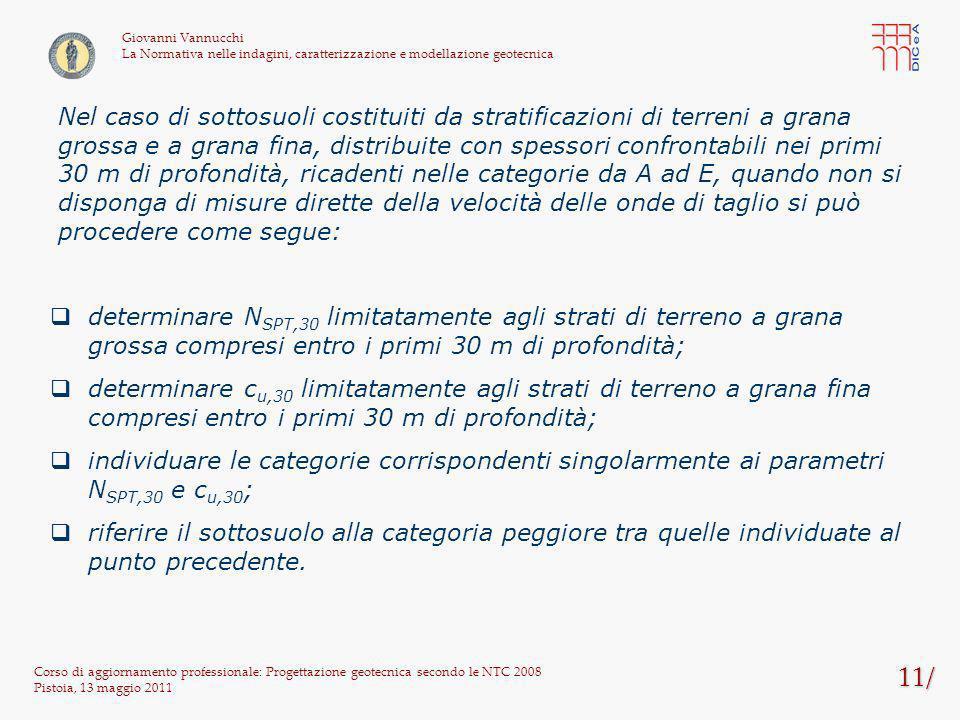 11/ Corso di aggiornamento professionale: Progettazione geotecnica secondo le NTC 2008 Pistoia, 13 maggio 2011 Giovanni Vannucchi La Normativa nelle i