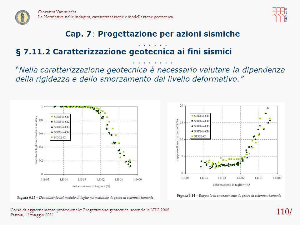110/ Corso di aggiornamento professionale: Progettazione geotecnica secondo le NTC 2008 Pistoia, 13 maggio 2011 Giovanni Vannucchi La Normativa nelle