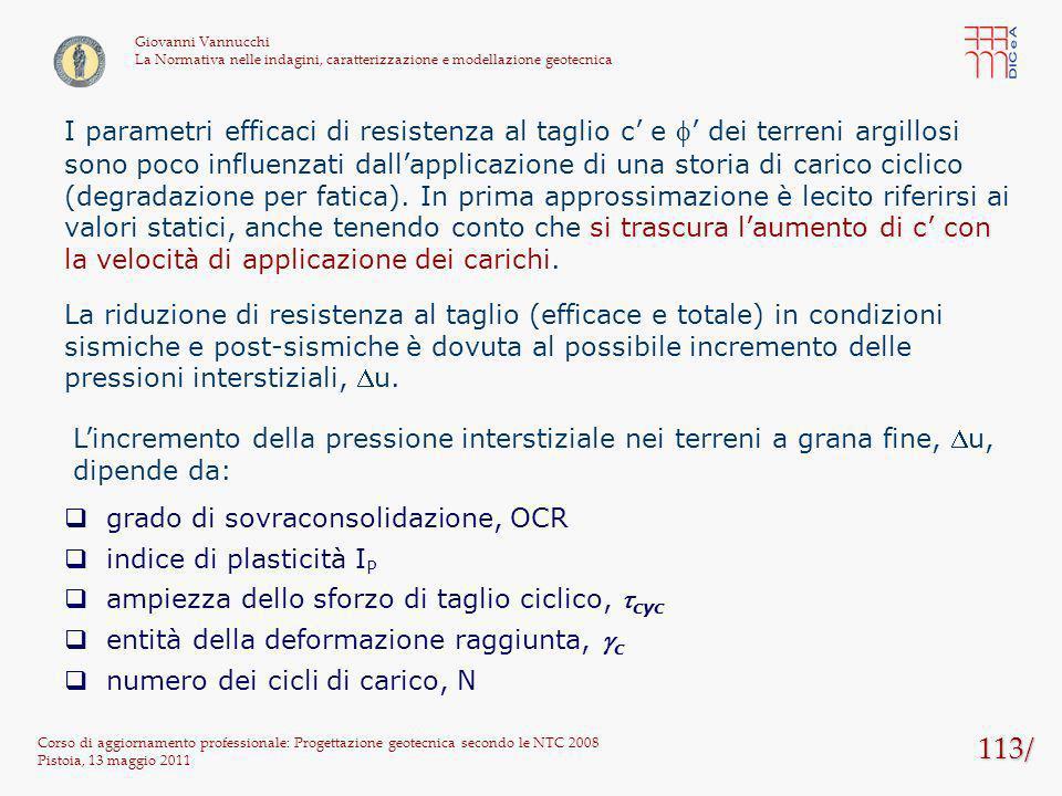 113/ Corso di aggiornamento professionale: Progettazione geotecnica secondo le NTC 2008 Pistoia, 13 maggio 2011 Giovanni Vannucchi La Normativa nelle