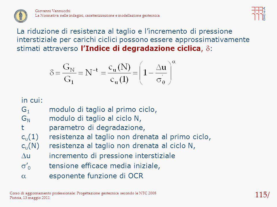 115/ Corso di aggiornamento professionale: Progettazione geotecnica secondo le NTC 2008 Pistoia, 13 maggio 2011 Giovanni Vannucchi La Normativa nelle