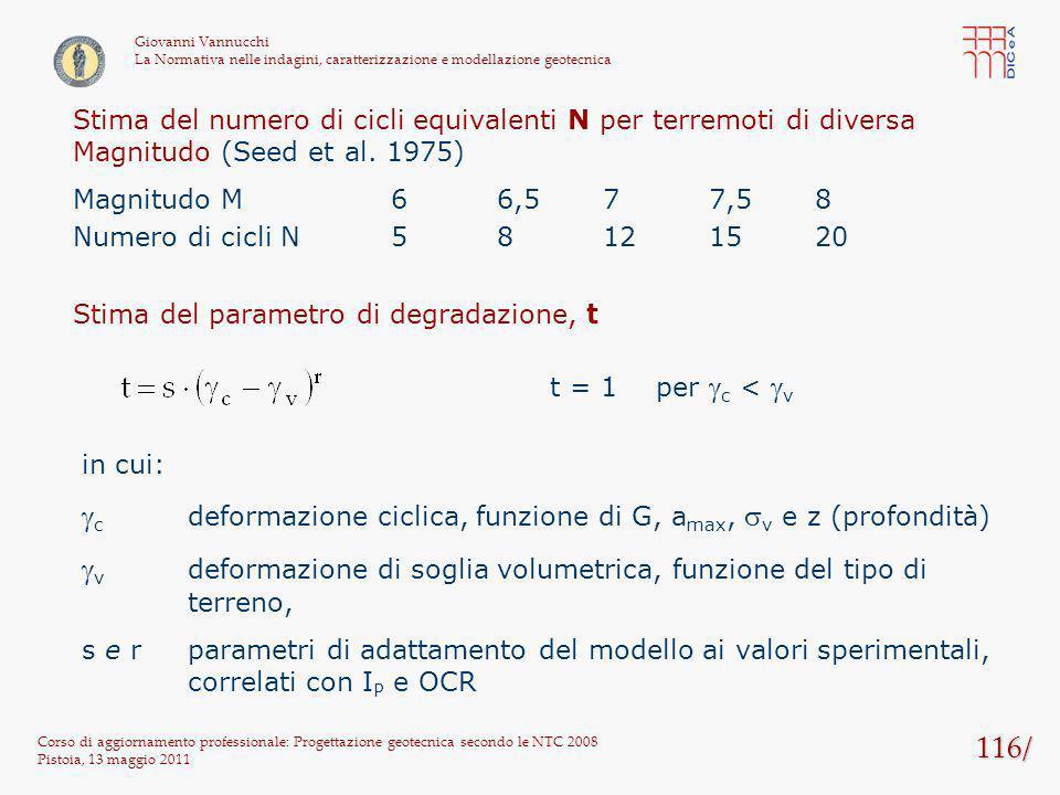 116/ Corso di aggiornamento professionale: Progettazione geotecnica secondo le NTC 2008 Pistoia, 13 maggio 2011 Giovanni Vannucchi La Normativa nelle