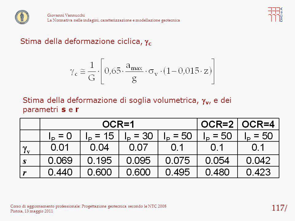 117/ Corso di aggiornamento professionale: Progettazione geotecnica secondo le NTC 2008 Pistoia, 13 maggio 2011 Giovanni Vannucchi La Normativa nelle