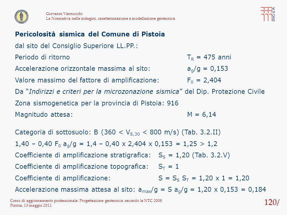 120/ Corso di aggiornamento professionale: Progettazione geotecnica secondo le NTC 2008 Pistoia, 13 maggio 2011 Giovanni Vannucchi La Normativa nelle