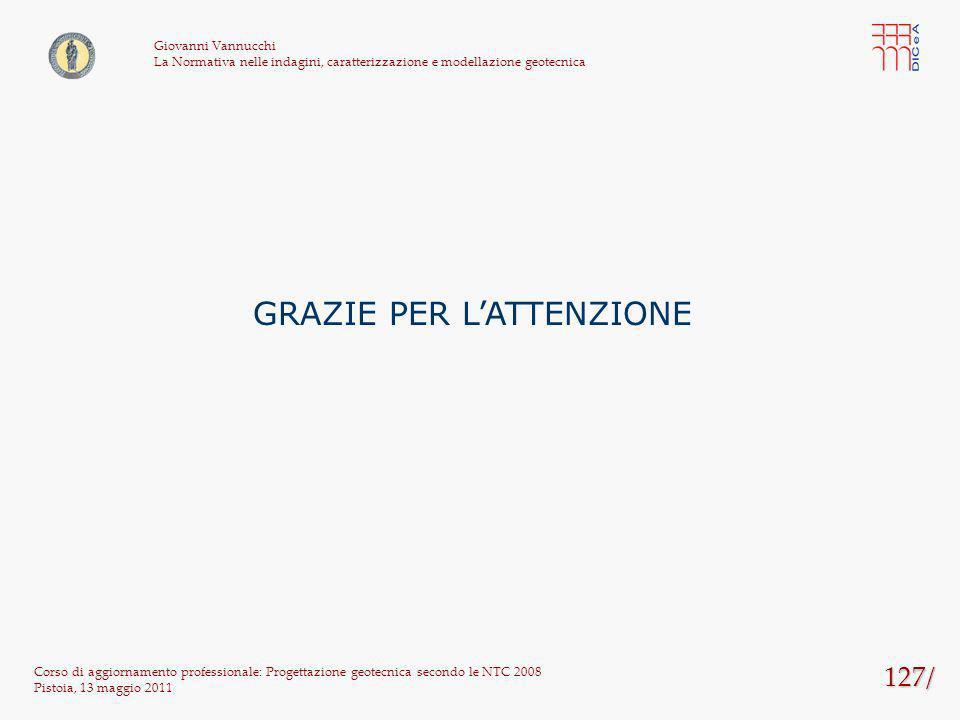 127/ Corso di aggiornamento professionale: Progettazione geotecnica secondo le NTC 2008 Pistoia, 13 maggio 2011 Giovanni Vannucchi La Normativa nelle