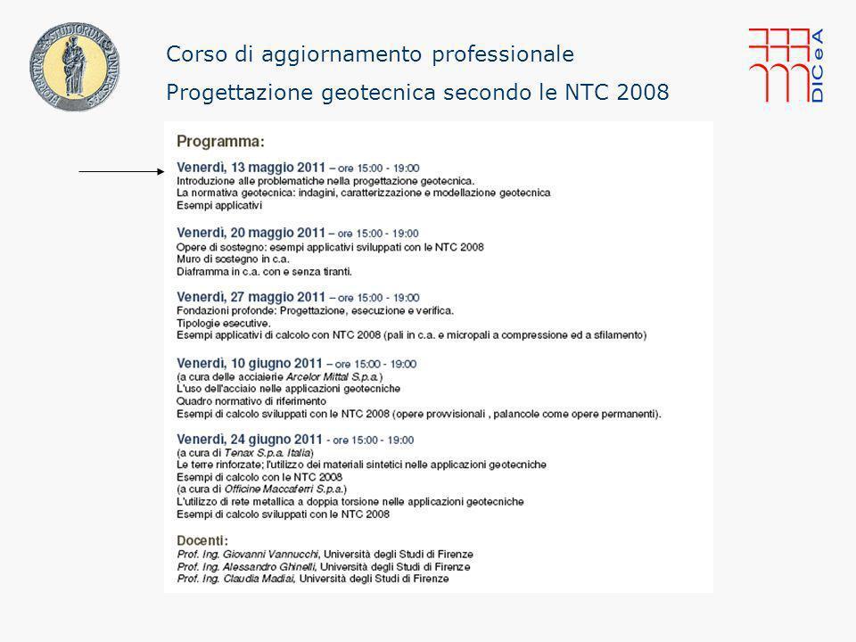 33/ Corso di aggiornamento professionale: Progettazione geotecnica secondo le NTC 2008 Pistoia, 13 maggio 2011 Giovanni Vannucchi La Normativa nelle indagini, caratterizzazione e modellazione geotecnica Categoria D