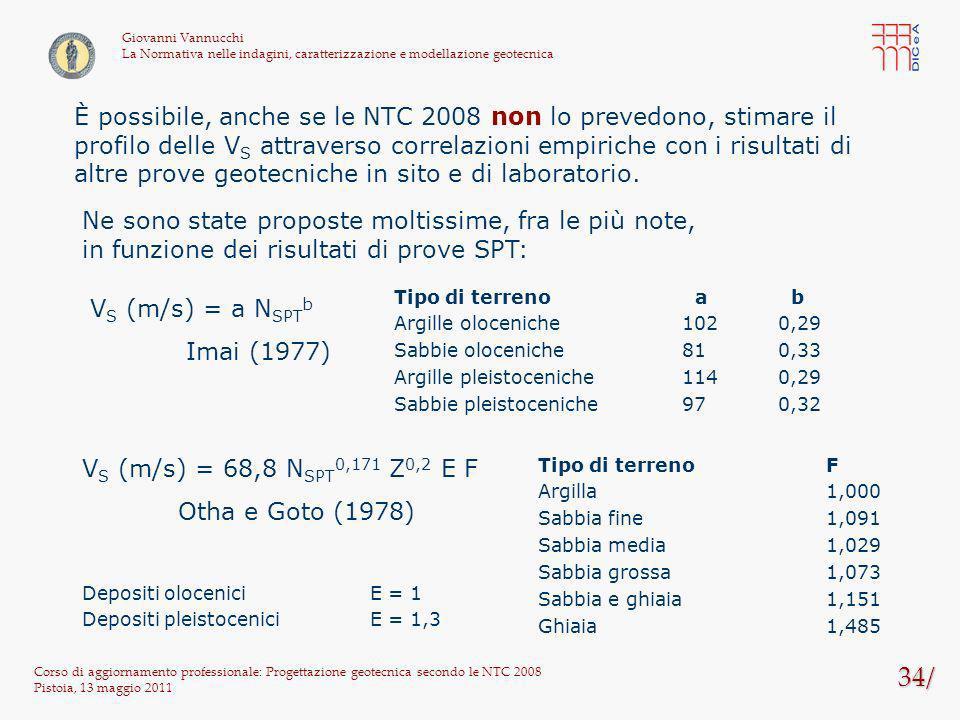 34/ Corso di aggiornamento professionale: Progettazione geotecnica secondo le NTC 2008 Pistoia, 13 maggio 2011 Giovanni Vannucchi La Normativa nelle i