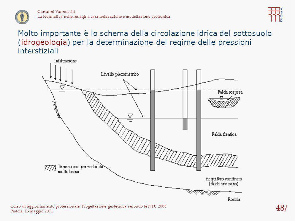 48/ Corso di aggiornamento professionale: Progettazione geotecnica secondo le NTC 2008 Pistoia, 13 maggio 2011 Giovanni Vannucchi La Normativa nelle i