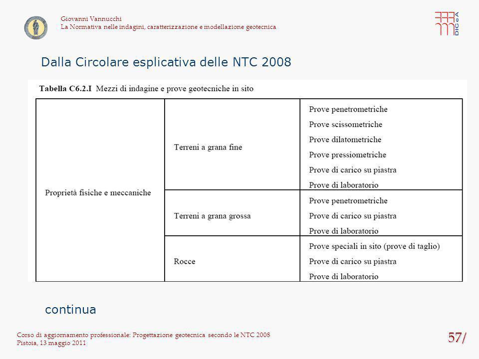 57/ Corso di aggiornamento professionale: Progettazione geotecnica secondo le NTC 2008 Pistoia, 13 maggio 2011 Giovanni Vannucchi La Normativa nelle i